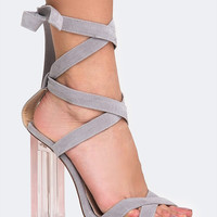 Clear Heel Lace Up Sandal
