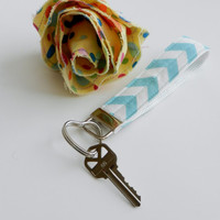Chevron Wristlet Key Fob with Heart Ring, Riley Blake Fabric, Cute Matching Accessory