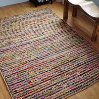 Astoria Natural Hemp and Dyed Chindi Braided Round Rug, Multi-Color, 3' Diameter - Walmart.com