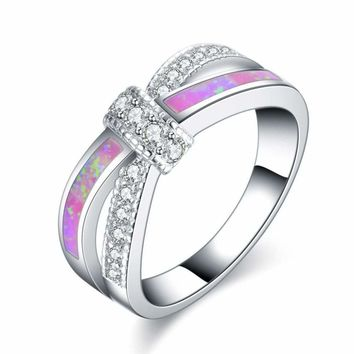 18K Platinum Plated Colorful Opal Crystal Wedding engagement Cross Rings