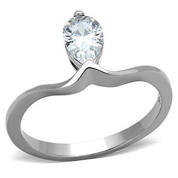 WildKlass Stainless Steel Solitaire Ring High Polished (no Plating) Women AAA Grade CZ Clear