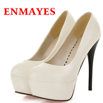 ENMAYER women pump round toe spool heels platform pumps sexy for spring or autumn size 34-44 four colors party shoes for ladies