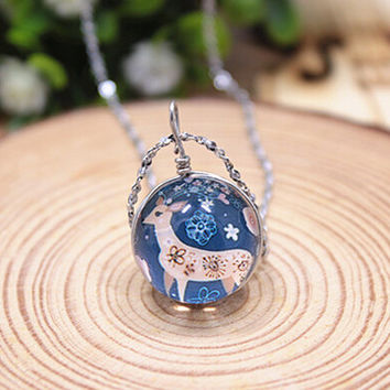 Vintage Style Handmade Cute Deer Necklace Gift 145