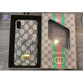 LV & GUCCI Fashion New Monogram Tartan Print Women Men Protective Cover Phone Case 2#