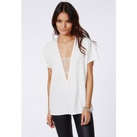 Missguided - Hayley Mesh Insert Shell Top White
