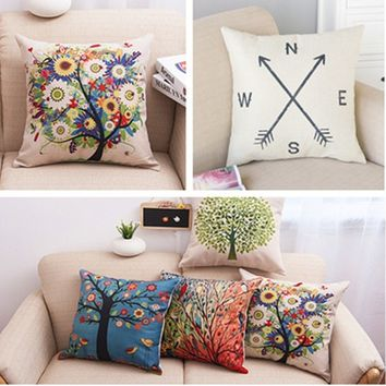 Life Tree Decorative Pillow Case Cover Cotton Linen Bright Colorful Pillowcase Home Textile Modern 45x45cm