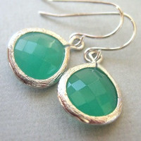 Spring Green Drop Earrings, Silver trim