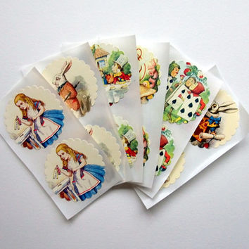 Alice in Wonderland Stickers - Set of 12 - Mad Hatter Tea Party