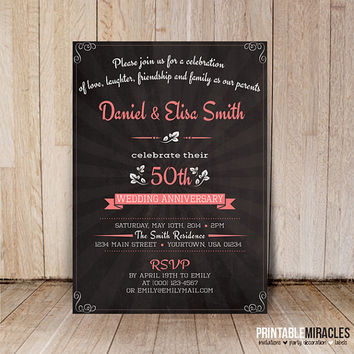 Chalkboard wedding anniversary invitations / Printable 20th 30th 40th 50th 60th Milestone anniversary invite card