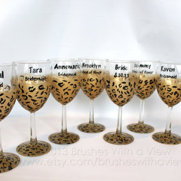 Hand Painted Wine Glass Cheetah Personalized Bridesmaids
