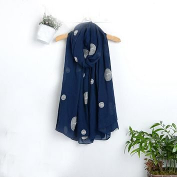 Blue or Green Polka Dot Scarf