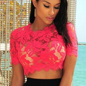Scoop Pure Color Short Sleeves Lace Hollow Out Crop Top