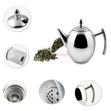 1000ML/1500ML Stainless Steel Durable Teapot Coffee Tea Sliver Cold Water Pot Kettle With Strainer Home Kitchen Helper