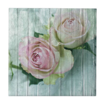 Shabby Chic Pink Roses On Blue Wood Gifts
