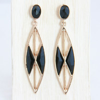 Point to Geodome Earrings - Black