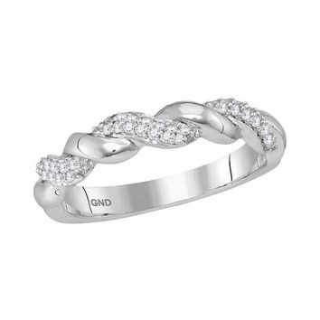 10kt White Gold Womens Round Diamond Twist Stackable Band Ring 1/6 Cttw