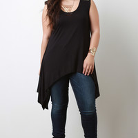 Asymmetrical Handkerchief Hem Round Studded Knit Sleeveless Top