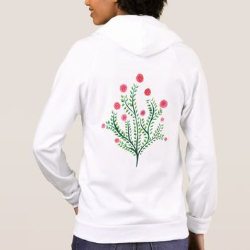 Abstract Spring Plant Pink And Green Ink Drawing Hoodie
