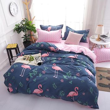 Monily Pink Flamingo Bedding Sets 3/4pcs Cartoon Animals Bed Linings Duvet Cover Bed Sheet Pillowcases Cover Set Children's room