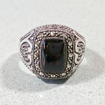 Vintage Black Onyx Silver Marcasites Sterling Ladies Ring Size 8 Gift For Her Sparkling Tapered Wide Band Fabulous Fashionable Rockin' Ring