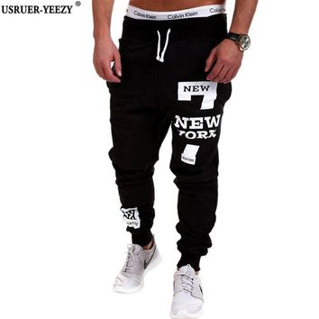 USRUER-YEEZY New Arrived Men's Brand Casual Joggers Letter Printing Compression Pants
