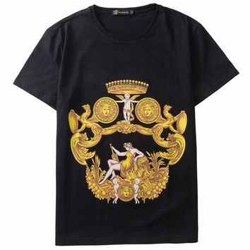 Versace 2019 new tide brand round neck fashion casual knit top Black