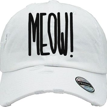 MEOW Distressed Baseball Hat