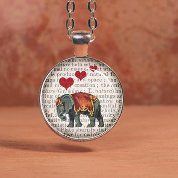 Elephant with Hearts Printed on Vintage Page Pendant Necklace Inspiration Jewelry