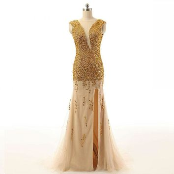 New Fashion Beading Chiffon Backless Cap Sleeve High Split Floor Length Formal Evening Dress