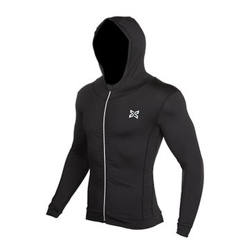 Men Running Jackets Sweater Compression Outdoor Sports Soccer Football Jersey GYM Tights Fitness Hooded Jacket Reflective zipper
