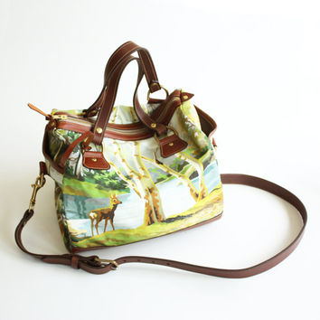 The Kimberly Bag - Leather and Digitally Printed Canvas bag, Norwegian Wood x Kimberly Fletcher Collab