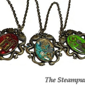 Painted Steampunk Dragon Pendant Necklace Steampunk Jewelry Steampunk Dragons