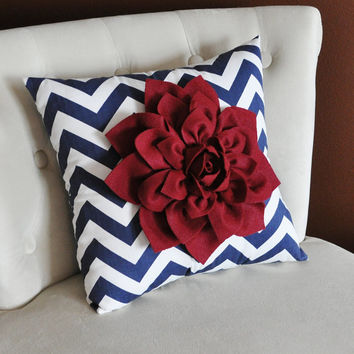 Ruby Red Dahlia on Navy Blue and White Zigzag Pillow -Chevron Pillow- Patriotic Decor- Red White and Blue