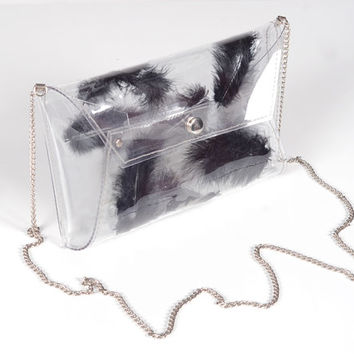 Clear clutch bag with black feather halloween bag transparent modern bag envelope evening cross body purse luxury bag prom date gothic bag