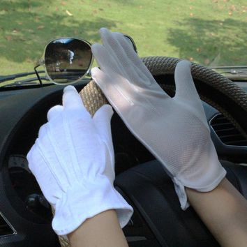 2pcs=1pair White Cotton Gloves Four Seasons Men/Women Sunscreen Anti-skid Driving Cotton Gloves Breathable Thin Driver Gloves