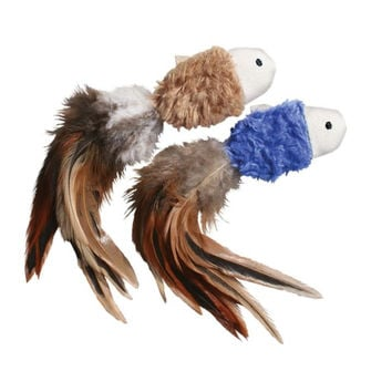 KONG Crinkle Feathers & Catnip Fish Cat Toy 2 ct
