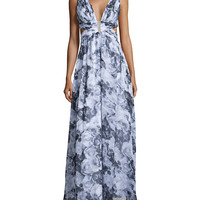 Sleeveless Floral-Print Gown, Black Multi, Size: