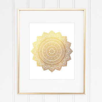 Gold Mandala Print, Mandala Poster, Mandala Art, Mandala Wall Decor, Meditation Art, Yoga Art, Hindu Decor, Zen Art, New Age Art, Namaste