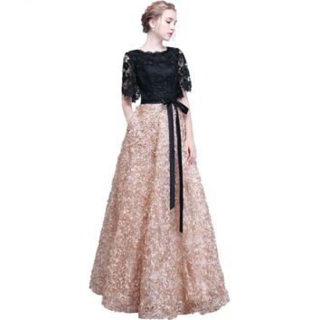 Lace Evening Dresses Black Gold Contrast Color Long Elegant Formal Short Sleeves Prom Gowns