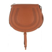 CHLOE Calfskin Medium Marcie Round Crossbody Tan