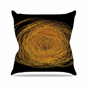 "Maria Bazarova ""Hay"" Gold Black Outdoor Throw Pillow"