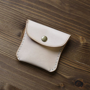 No.1 Handmade Leather Coin Pouch, Petite, Solid brass snap closure, Natural 'nude' Veg Tan
