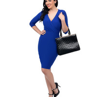 1950s Style Royal Blue Three-Quarter Sleeve Fitted Knit Wiggle Dress