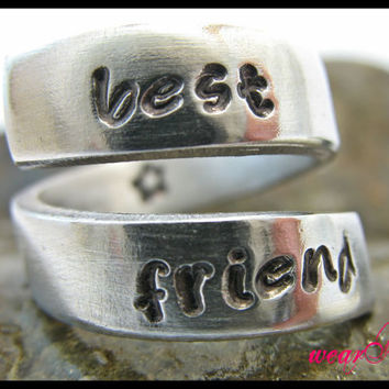 "Personalized Ring ""Best Friend' -Custom Ring.. Adjustable aluminum Wrap Ring.. Best Gift.. YOu WiLL LOvE iT"