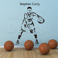 Art new design cheap home decor basketball Stephen wall sticker removable house decoration Vinyl NBA Warriors Curry room decals