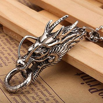 Trendy-beads Vintage Style Stainless Steel Chinese Totem Dragon Head Pendant Necklace Link Chain Charm Jewelry