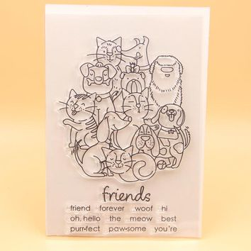 KLJUYP Friends Forever Transparent Clear Silicone Stamp/Seal for DIY scrapbooking/photo album Decorative clear stamp sheets