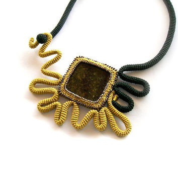 Crochet Necklace Granite Square - Mustard Yellow Black - Abstract Sunflower - gift for her under 50