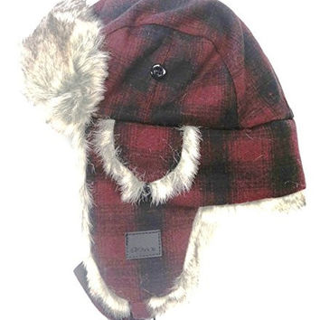 Chaos Men's Muscle Wool Blend Trapper Hat (Red Plaid, Unisex)
