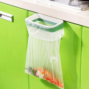 Cupboard Door Back Trash Rack Storage Garbage Bag Holder Hanging Kitchen Cabinet Hanging Trash Rack kitchen accessories